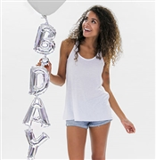 Vertical B-Day Silver Mylar Balloon