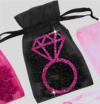 Hot Pink Glitter Ring Organza Favor Bag