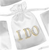 I Do White Satin Favor Bag