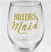 "Modern ""Bridesmaid"" Stemless Wine Glass 