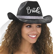 Western Silver Bride Black Hat w/White Veil