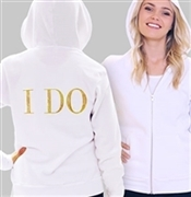"""I DO"" Rhinestone Hoodie for the Bride - White 