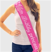 Pink Gem 16th Birthday Princess Rhinestone Sash