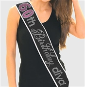Pink Gem 60th Birthday Diva Rhinestone Sash