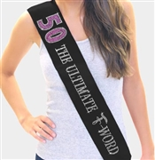 Pink Gem 50 The Ultimate F - Word Rhinestone Birthday Sash
