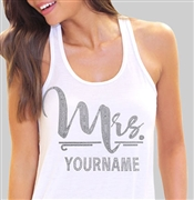 """Mrs."" Custom Rhinestone Bride Tank Top 