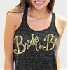 Bride to Be Gold Sequin Flowy Racerback Tank: Black Marble | Bridal Tank Tops | RhinestoneSash.com