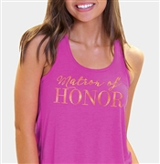 Matron of Honor Modern Gold Flowy Racerback Tank: Magenta
