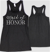 """Maid of Honor"" Black Flowy Racerback Tank with Rhinestones 