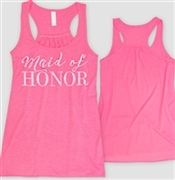 """Maid of Honor"" Racerback Tank - Pink 