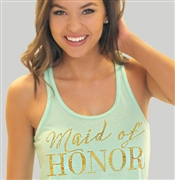 Maid of Honor Modern Gold Flowy Racerback Tank in Mint | RhinestoneSash.com