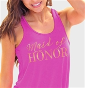 """Maid of Honor"" Flowy Racerback Tank in Magenta 