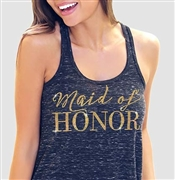 """Maid of Honor"" Flowy Racerback Tank in Black Marble 