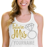 Future Mrs. Custom Glitter & Rhinestone Flowy Tank Top