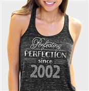 Perfecting Perfection Since 2002 Flowy Racerback Tank Top