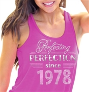 Perfecting Perfection Since 1978 Flowy Racerback Tank Top