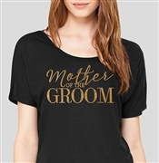 """Mother Of The Groom"" Flowy Gold & Black T-Shirt 