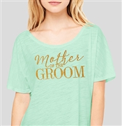 """Mother Of The Groom"" Flowy Mint T-shirt with Gold Rhinestuds 