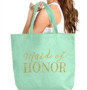 Maid of Honor Gold Large Canvas Tote