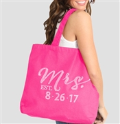 Modern Mrs & Wedding Date Custom Large Tote