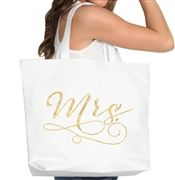 Mrs Gold Large Canvas Tote | Bride Tote Bag