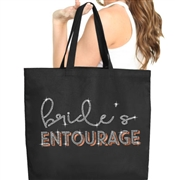 Bride's Entourage Rhinestone & Rose Gold Large Canvas Tote | Gifts for the Bridal Party
