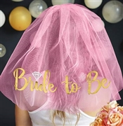 Gold Bride to Be w/Diamond Veil - Pink | Bridal Hats & Veils | RhinestoneSash.com