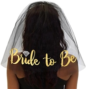 Gold Bride to Be w/Diamond Veil - Black | Bridal Hats & Veils | RhinestoneSash.com