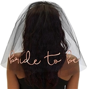 Bride to Be Rose Gold Foil Veil: Black