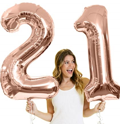 Jumbo 21 Mylar Rose Gold Balloons 21st Birthday Ideas