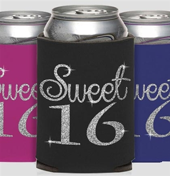 Glitter Girly Sweet 16 Can Cooler