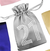 Crystal 21 Satin Favor Bag | Birthday Favors & Gifts | RhinestoneSash.com
