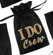 I Do Crew Black Satin Favor Bag