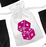 Hot Pink Dice Satin Favor Bag
