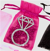 Silver Glitter Ring Organza Favor Bag