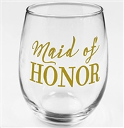 "Modern ""Maid of Honor"" Stemless Wine Glass 