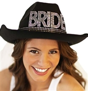 Western Gem Bride Hat w/Veil - Black