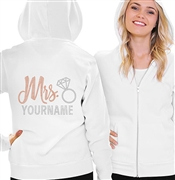 Mrs. Rose Gold Custom Name Fleece Hoodie | RhinestoneSash.com