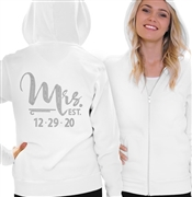 """Mrs."" Custom Wedding Date Rhinestone Fleece Hoodie 