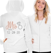 Rose Gold Mrs. & Wedding Date Custom Fleece Hoodie | RhinestoneSash.com