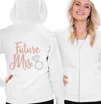 Future Mrs. w/Ring Rose Gold Rhinestud Fleece Hoodie