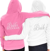 Flirty Bride or Bride's Entourage Fleece Hoodie | Bridal Hoodies | RhinestoneSash.com