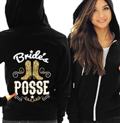 Bride's Posse White & Gold Fleece Hoodie