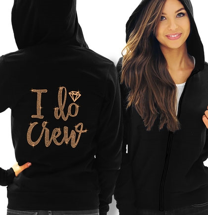 I Do Crew w/Diamond Rose Gold Rhinestud Hoodie
