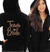 Team Bride w/Diamond Rose Gold Rhinestud Lightweight Hoodie