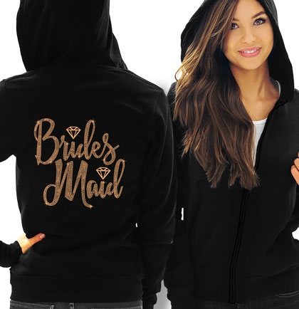 Bridesmaid w/Diamond Rose Gold Rhinestud Fleece Hoodie