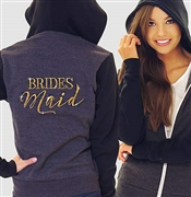 """Bridesmaid"" Modern Fleece Hoodie: Charcoal & Black 