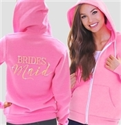 Bridesmaid Modern Fleece Hoodie:  Electric Pink