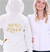 Bridesmaid Modern Fleece Hoodie: White