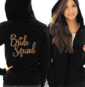 Bride Squad w/Diamond Rose Gold Rhinestud Lightweight Hoodie